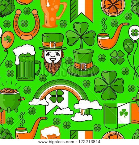 Vector seamless pattern St. Patricks Day with cauldron, rainbow, Leprechaun. Include lucky clover, hat, beer mug, horseshoe  and the flags on green background.