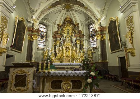 Mount St. Anna Poland February 4, 2017: Inside the Basilica of St. Anna in the international sanctuary of St. Anna in Poland