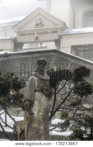concrete figure of St. Francis in the winter fog in the Franciscan monastery on Mount St. Anna in Poland