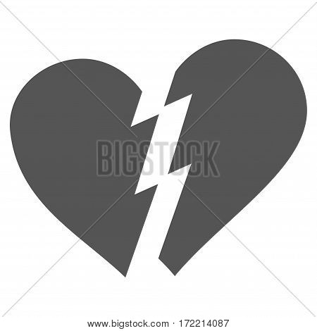 Broken Heart flat icon. Vector gray symbol. Pictogram is isolated on a white background. Trendy flat style illustration for web site design logo ads apps user interface.
