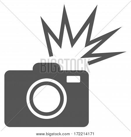 Camera Flash flat icon. Vector gray symbol. Pictogram is isolated on a white background. Trendy flat style illustration for web site design logo ads apps user interface.