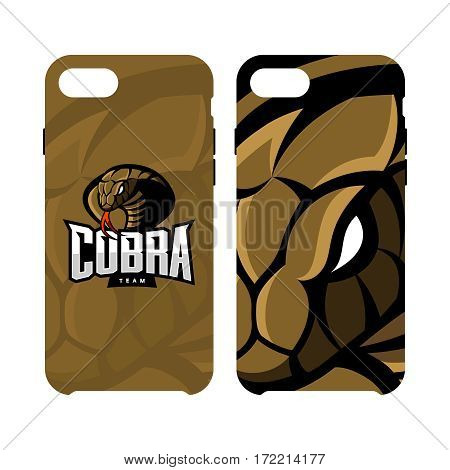 Furious cobra sport vector logo concept smart phone case isolated on white background. Web infographic military professional team pictogram. Premium quality wild snake artwork cell phone cover illustration