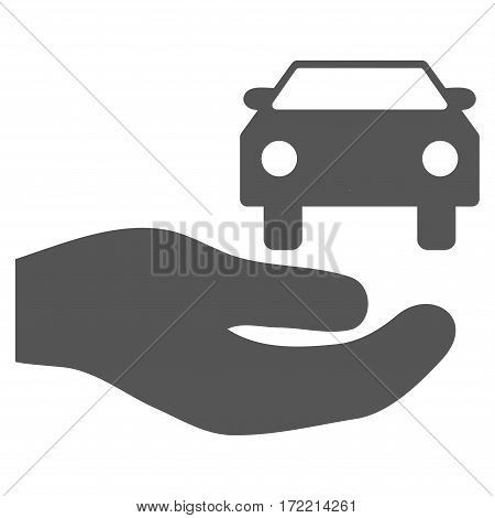 Car Gift Hand flat icon. Vector gray symbol. Pictogram is isolated on a white background. Trendy flat style illustration for web site design logo ads apps user interface.