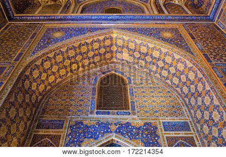 SAMARKAND UZBEKISTAN - OCTOBER 15 2016: Interior of the mosque Tilya Kari Madrasah on Registan Square