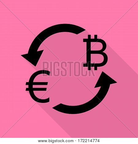 Currency exchange sign. Euro and Bitkoin. Black icon with flat style shadow path on pink background.