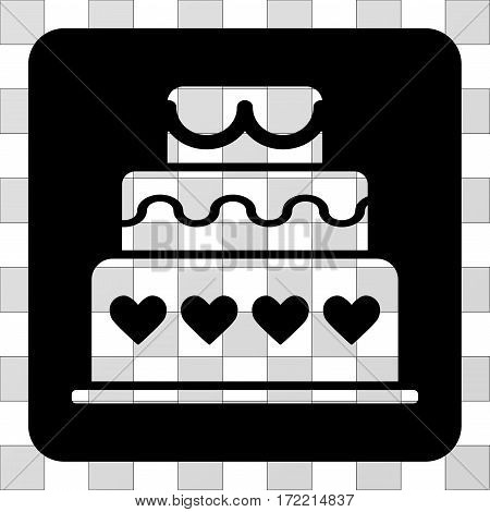 Marriage Cake interface toolbar icon. Vector pictograph style is a flat symbol perforation inside a rounded square shape, black color.