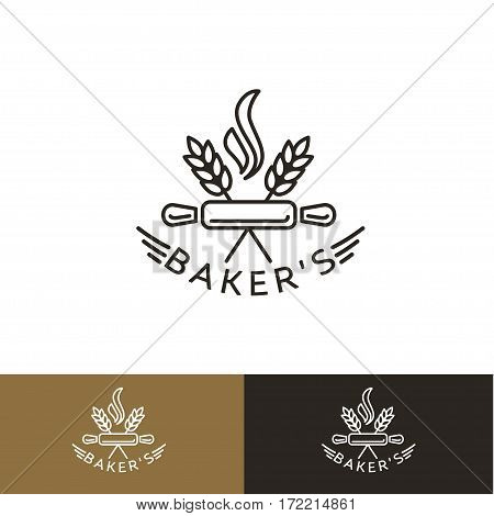 Bakery logo, icon, emblem with rolling pin and ears in line style