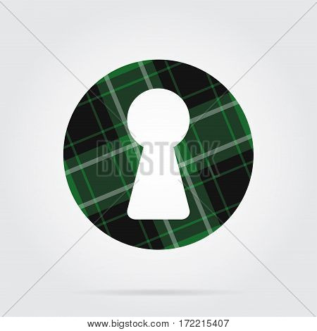 green black isolated tartan icon with white stripes - keyhole and shadow in front of a gray background