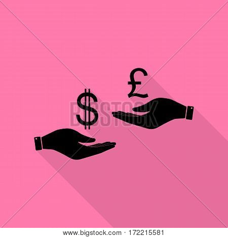 Currency exchange from hand to hand. Dollar and Pound. Black icon with flat style shadow path on pink background.