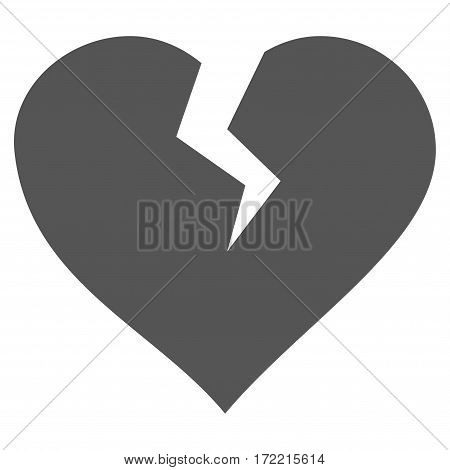 Heart Break flat icon. Vector gray symbol. Pictogram is isolated on a white background. Trendy flat style illustration for web site design logo ads apps user interface.