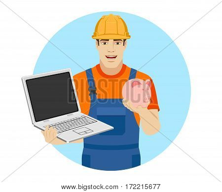 Builder holding a laptop and digital tablet. Portrait of builder in a flat style. Vector illustration.