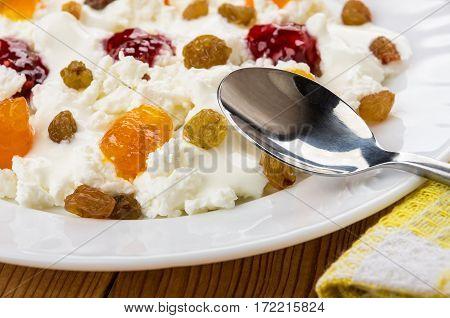 Close Up Of Cottage Cheese With Yogurt, Raisins And Jams
