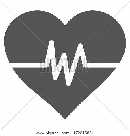 Heart Pulse flat icon. Vector gray symbol. Pictograph is isolated on a white background. Trendy flat style illustration for web site design logo ads apps user interface.