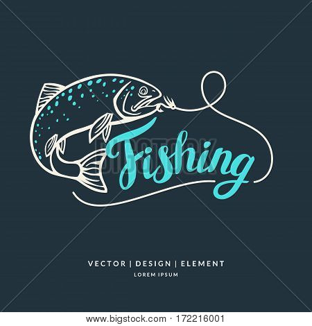 Fishing logo. Hand drawn lettering. Calligraphy brush and ink. Handwritten inscriptions and quotes for layout and template. Vector illustration of text.