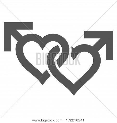 Linked Gay Hearts flat icon. Vector gray symbol. Pictograph is isolated on a white background. Trendy flat style illustration for web site design logo ads apps user interface.