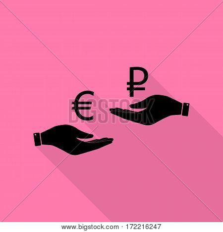 Currency exchange from hand to hand. Euro and Rouble. Black icon with flat style shadow path on pink background.