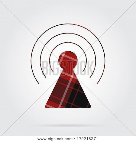 red black isolated tartan icon with white stripes - transmitter tower and shadow in front of a gray background