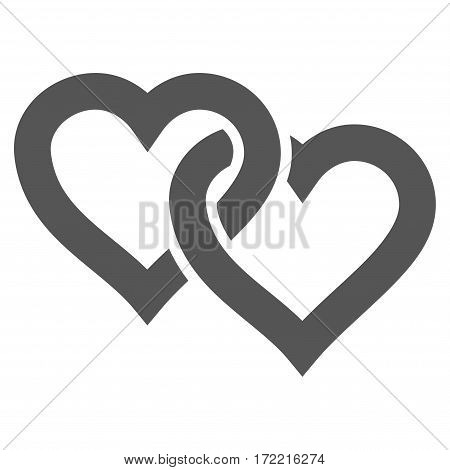 Linked Hearts flat icon. Vector gray symbol. Pictograph is isolated on a white background. Trendy flat style illustration for web site design logo ads apps user interface.