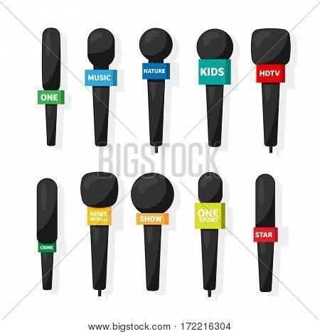 Microphone, reporter equipment. Mass media, television show. Tv.Audio conference. Interview. Broadcasting, communication. Flat style. Studio. Sound or music.Set.