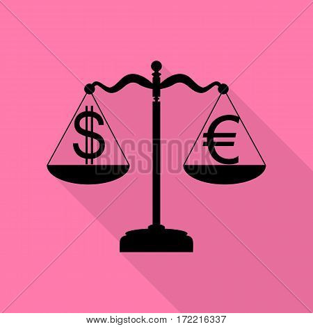 Justice scales with currency exchange sign. Black icon with flat style shadow path on pink background.