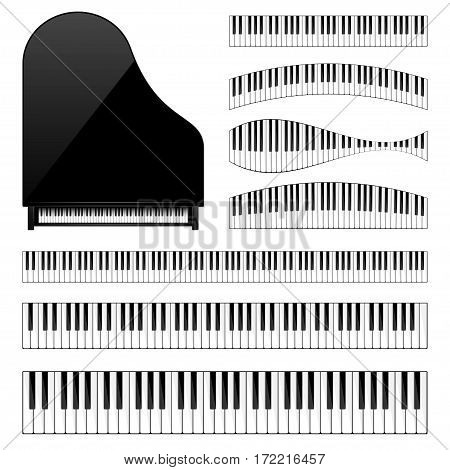Piano with keyboard, key. Musical background. Melody. Instrument. Set. Sound. Classical instrument.