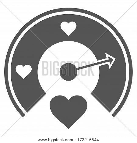 Love Gauge flat icon. Vector gray symbol. Pictograph is isolated on a white background. Trendy flat style illustration for web site design logo ads apps user interface.