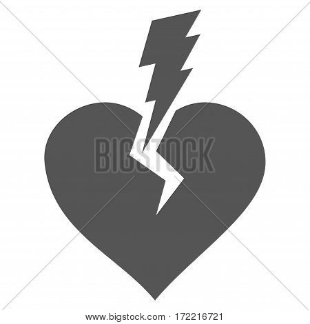 Love Heart Crash flat icon. Vector gray symbol. Pictograph is isolated on a white background. Trendy flat style illustration for web site design logo ads apps user interface.