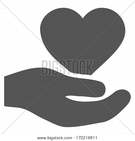 Love Heart Offer Hand flat icon. Vector gray symbol. Pictogram is isolated on a white background. Trendy flat style illustration for web site design logo ads apps user interface.
