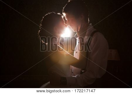 Happy Just Maried Couple Backlit