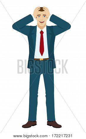 A pleasant surprise. Businessman surprised. Vector illustration.