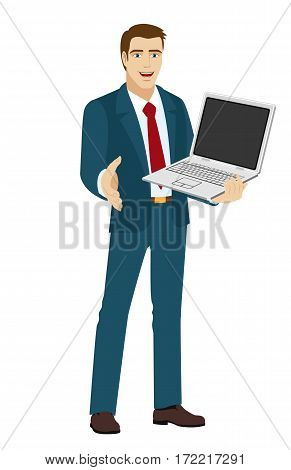 Businessman holding laptop notebook. Businessman gives a hand for a handshake. Vector illustration.