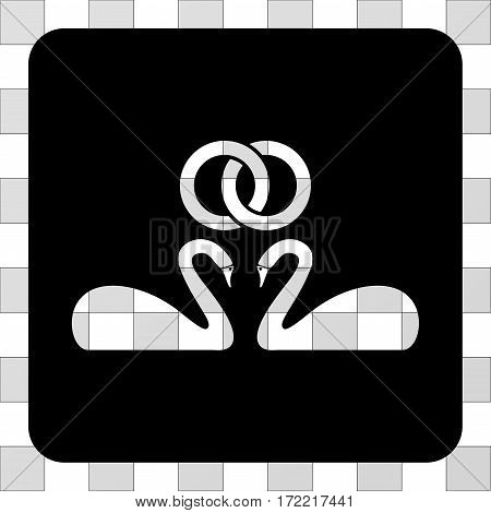 Wedding Swans interface icon. Vector pictograph style is a flat symbol perforation centered in a rounded square shape, black color.