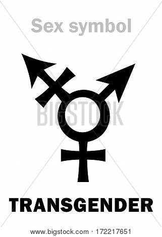 Astrology Alphabet: TRANSGENDER (Intersex). Hieroglyphics character sign (combination of Mars' and Venus' symbols).