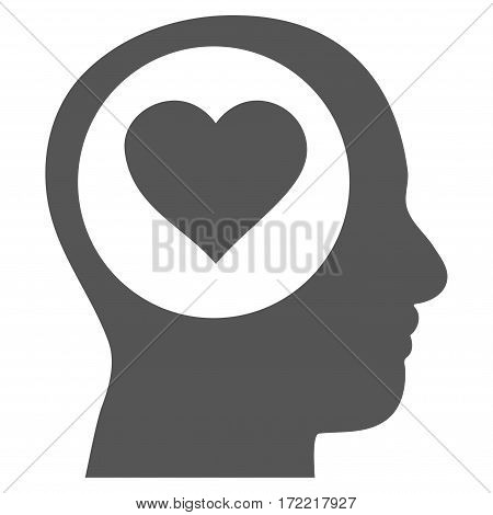 Love Thinking Head flat icon. Vector gray symbol. Pictogram is isolated on a white background. Trendy flat style illustration for web site design logo ads apps user interface.