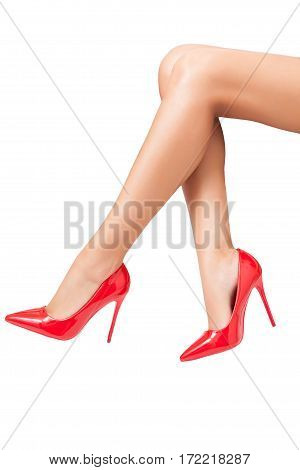 Red High Heels Perfect Shoes Over White Background