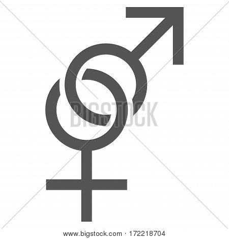 Sex Symbol flat icon. Vector gray symbol. Pictograph is isolated on a white background. Trendy flat style illustration for web site design logo ads apps user interface.
