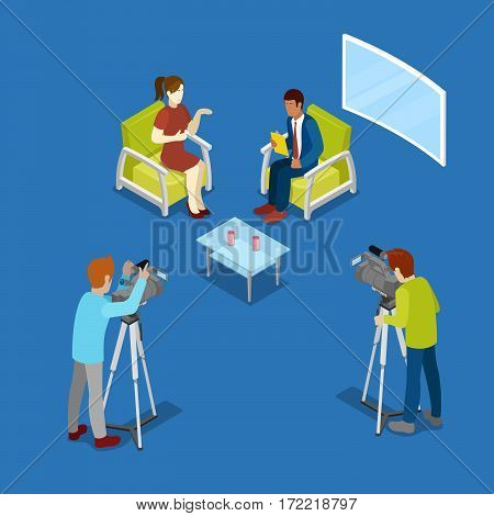 Isometric Mass Media Concept with Newsroom and Video Operator. Vector illustration