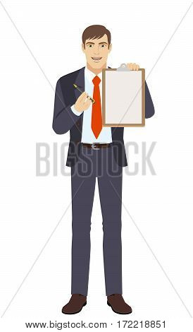 Businessman giving pen for your signature on clipboard. Full length portrait of businessman in a flat style. Vector illustration.