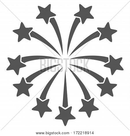 Spherical Fireworks flat icon. Vector gray symbol. Pictograph is isolated on a white background. Trendy flat style illustration for web site design logo ads apps user interface.