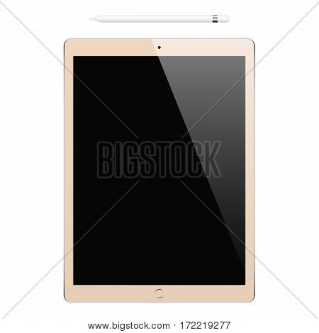 tablet gold color and pencil or stylus isolated on white background. stock vector illustration eps10