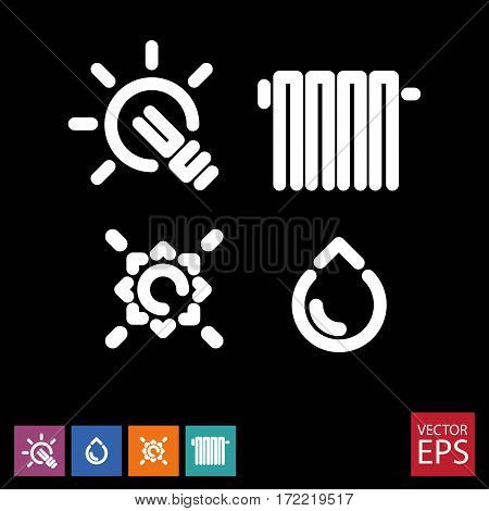 a set of icons for public services on a black background