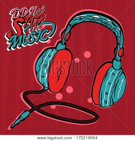 Headphones blue on a red background in doodle style