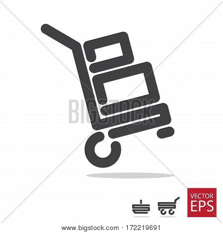 Icons with carts and baskets on white background
