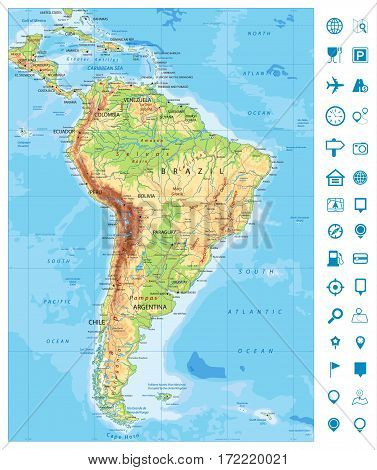 Detailed South America Physical Map and navigation icons with global relief roads lakes and rivers. Highly detailed vector map.