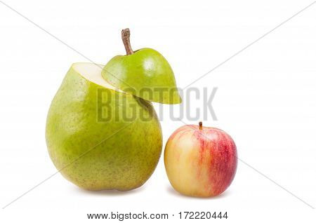 Pear And Apple On A White Background Isolated