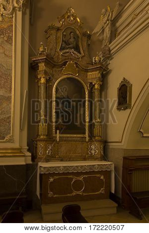 Mount St. Anna Poland February 4 2017: Inside the Basilica of St. Anna in the international sanctuary of St. Anna in Poland. Side altar