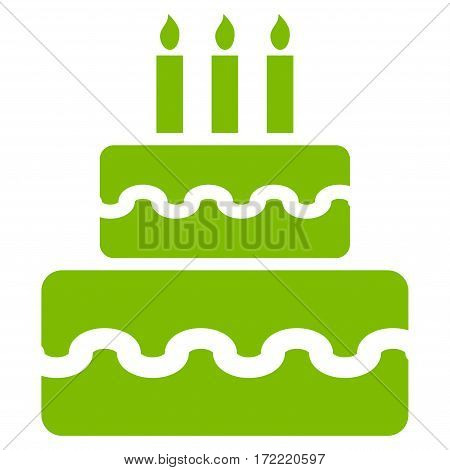 Birthday Cake flat icon. Vector light green symbol. Pictogram is isolated on a white background. Trendy flat style illustration for web site design logo ads apps user interface.