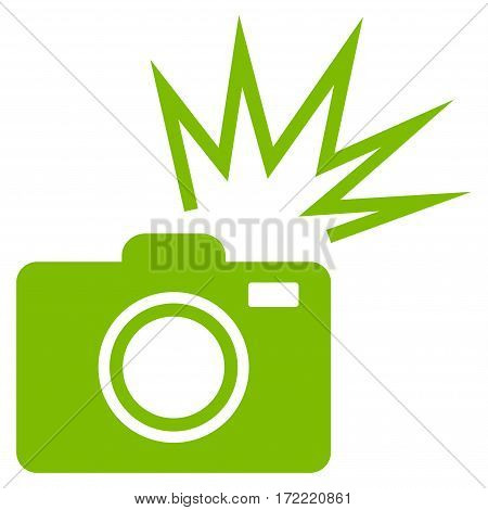 Camera Flash flat icon. Vector light green symbol. Pictograph is isolated on a white background. Trendy flat style illustration for web site design logo ads apps user interface.