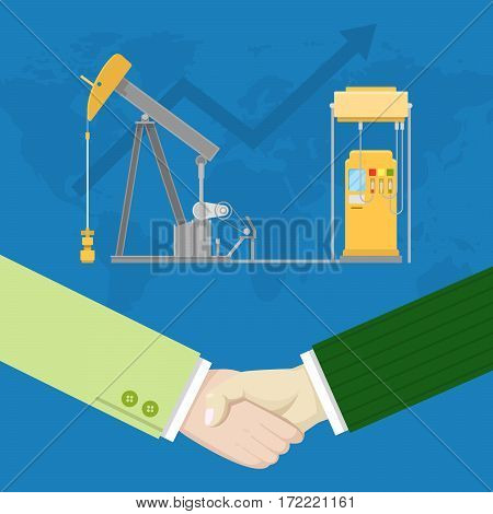 Oil Industry Production Partnership with Handshaking. Vector illustration