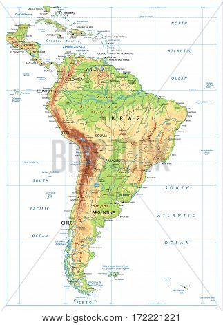 South America Physical Map isolated on white with global relief roads lakes and rivers. Highly detailed vector map.